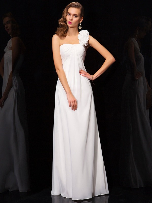 Naturally Chic Princess Style One-Shoulder Pleats Hand-Made Flower Long Chiffon Dresses