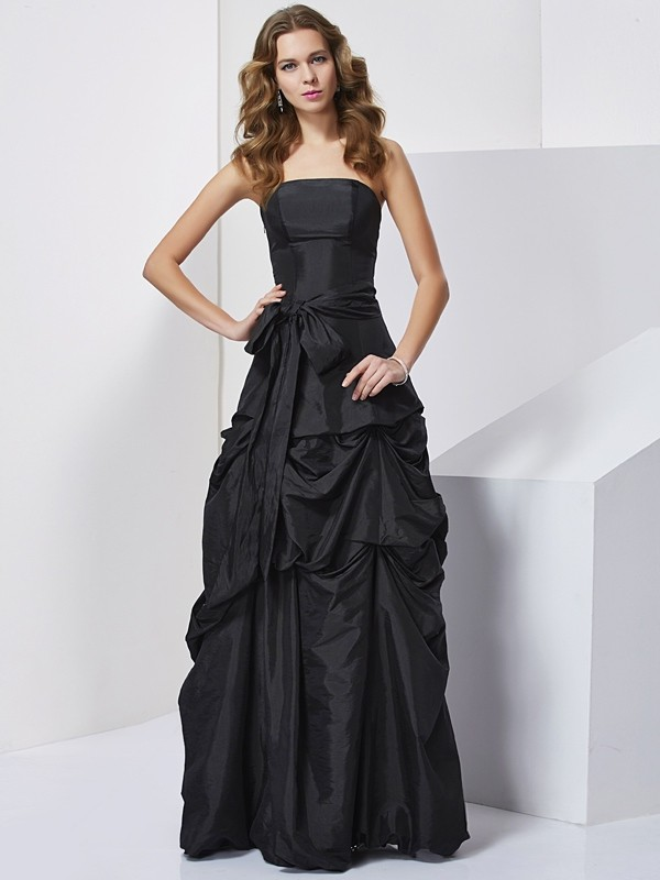 Sweet Sensation Sheath Style Strapless Bowknot Long Taffeta Dresses