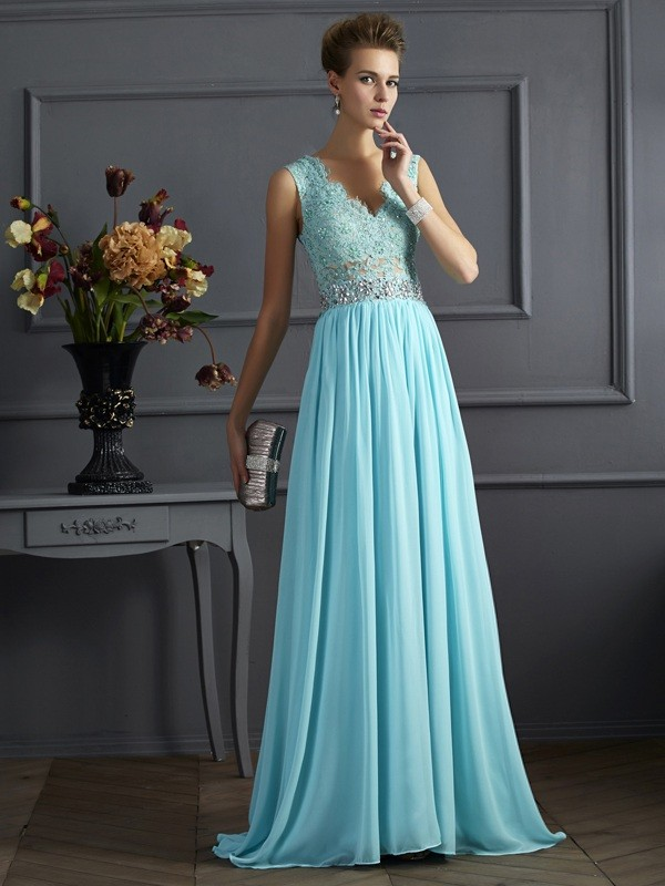 Limitless Looks Princess Style Straps Beading Lace Long Chiffon Dresses