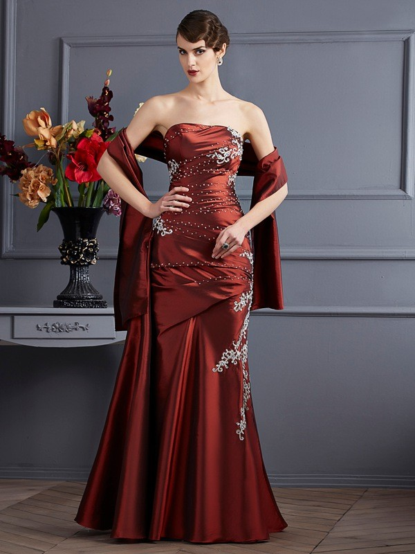 Fabulous Fit Sheath Style Strapless Beading Long Taffeta Dresses