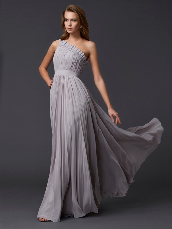 Embracing Grace Princess Style One-Shoulder Pleats Long Chiffon Dresses