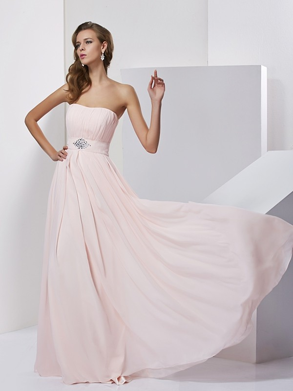 Modern Mood Princess Style Strapless Long Chiffon Dresses