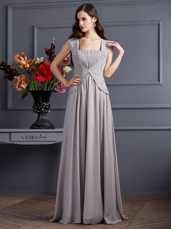Voiced Vivacity Princess Style Square Beading Long Chiffon Dresses