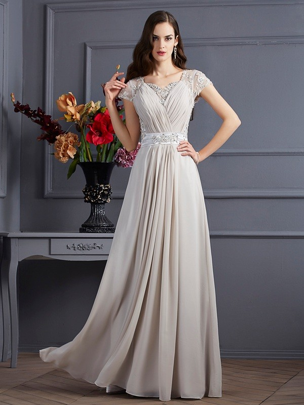Voiced Vivacity Princess Style Sweetheart Beading Long Chiffon Dresses