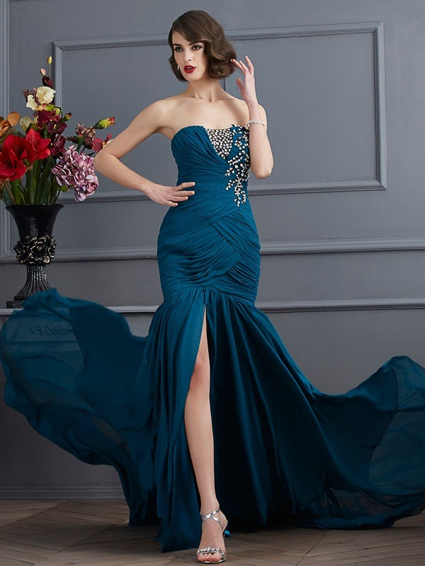 Cordially Delighted Mermaid Style Strapless Beading Applique Long Chiffon Dresses