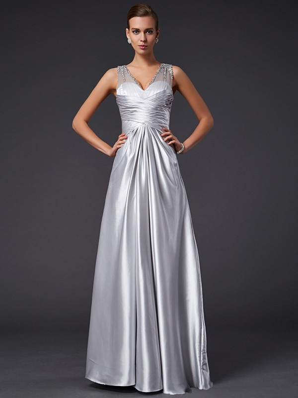 Cheerful Spirit Princess Style V-neck Beading Long Elastic Woven Satin Dresses