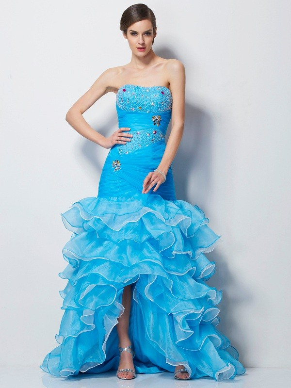 Romantic Vibes Mermaid Style Sweetheart Beading High Low Tulle Dresses