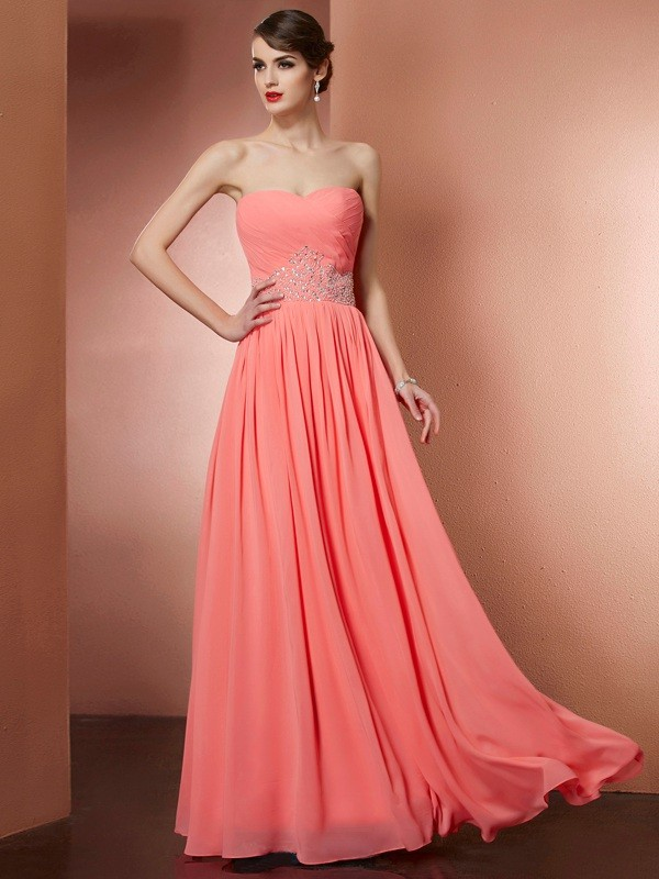 Beautiful You Princess Style Strapless Pleats Beading Long Chiffon Dresses