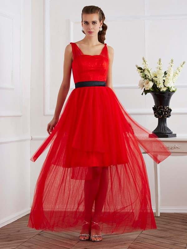 Fabulous Fit Princess Style Straps Pleats Long Elastic Woven Satin Dresses