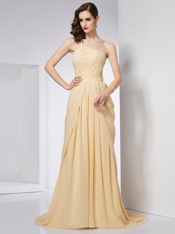 Visual Moment Princess Style One-Shoulder Pleats Long Chiffon Dresses