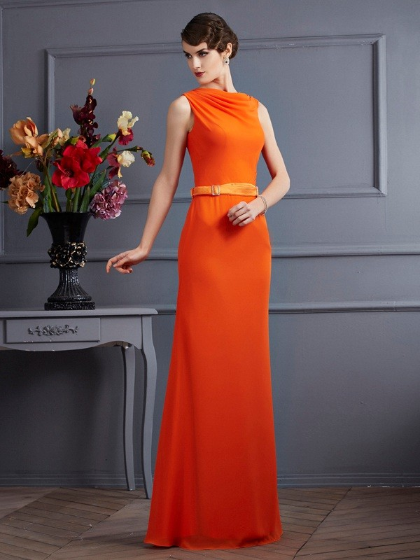 Too Much Fun Sheath Style High Neck Sash/Ribbon/Belt Long Chiffon Dresses