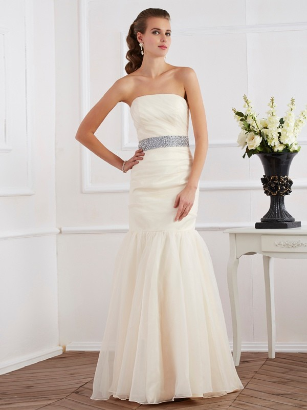 Touch of Texture Mermaid Style Strapless Sash/Ribbon/Belt Long Organza Dresses