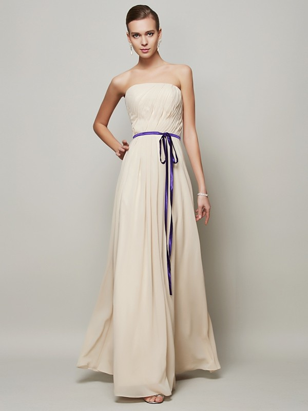 Voiced Vivacity Princess Style Strapless Sash/Ribbon/Belt Long Chiffon Dresses