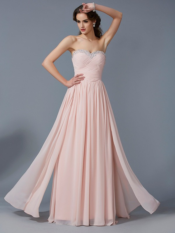 First Impressions Princess Style Sweetheart Pleats Long Chiffon Dresses