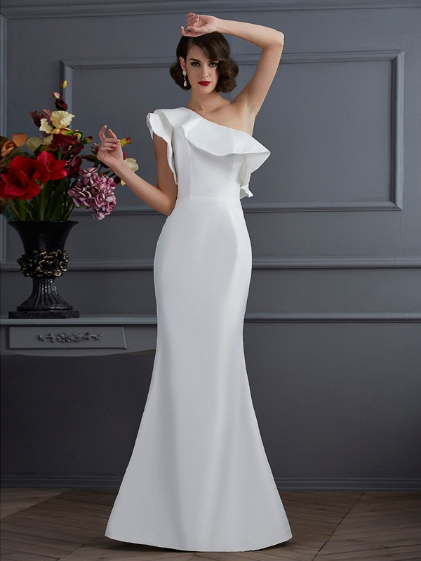 Fabulous Fit Mermaid Style One-Shoulder Ruffles Long Taffeta Dresses