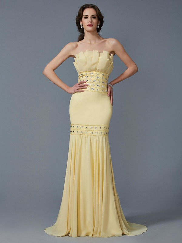 Lively Identity Mermaid Style Strapless Beading Long Chiffon Dresses