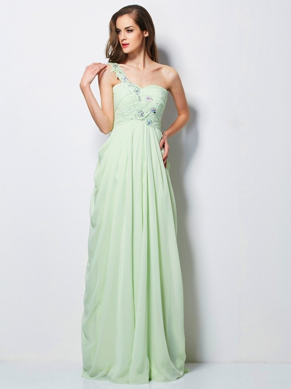 Eye-Catching Charm Princess Style One-Shoulder Applique Long Chiffon Dresses