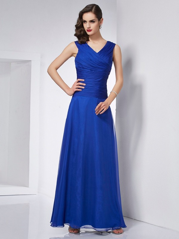Time to Shine Princess Style V-neck Pleats Long Chiffon Dresses
