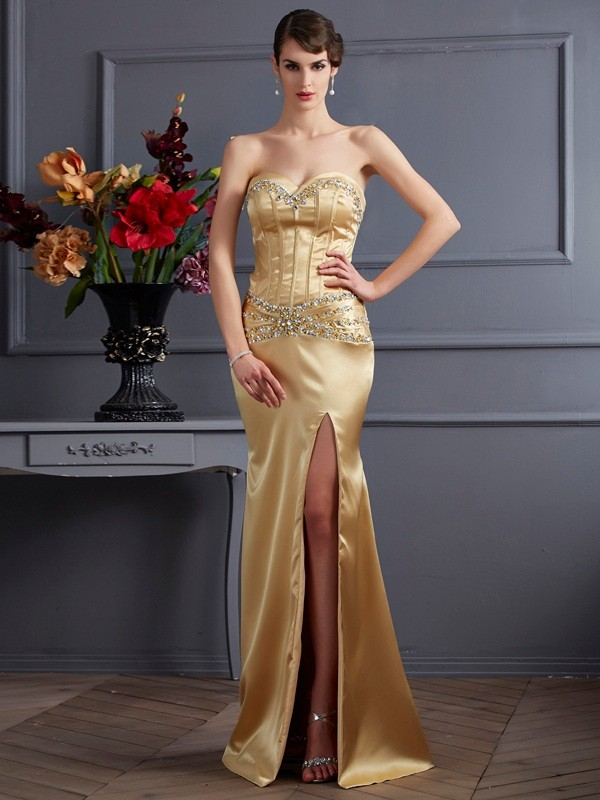 Limitless Looks Sheath Style Sweetheart Beading Long Elastic Woven Satin Dresses