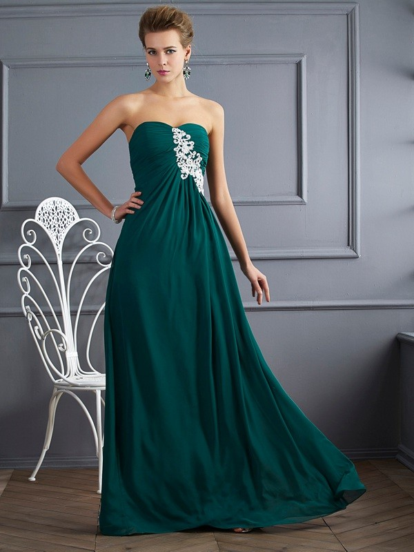 Confident Option Sheath Style Sweetheart Beading Long Chiffon Dresses