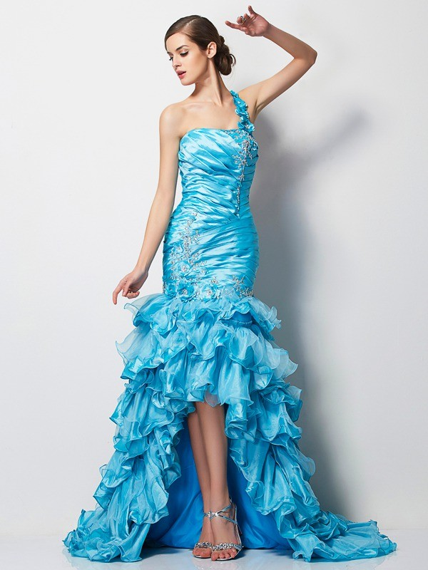 Lively Identity Mermaid Style One-Shoulder Beading High Low Taffeta Dresses