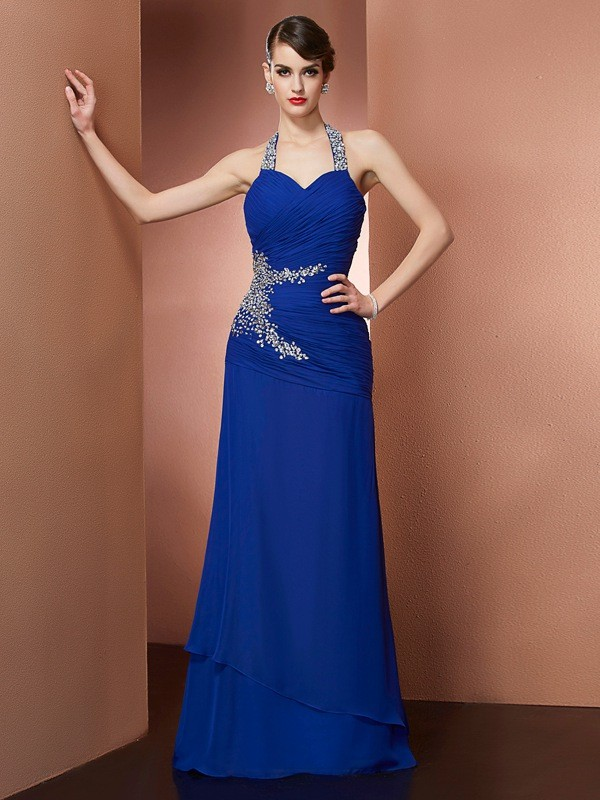 Naturally Chic Sheath Style Halter Beading Long Chiffon Dresses