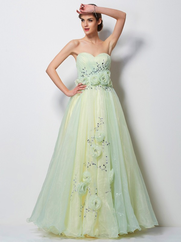 Embracing Grace Princess Style Sweetheart Hand-Made Flower Long Satin Dresses