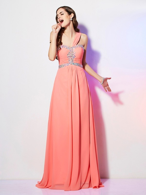 Glitz the Spot Princess Style One-Shoulder Beading Long Chiffon Dresses