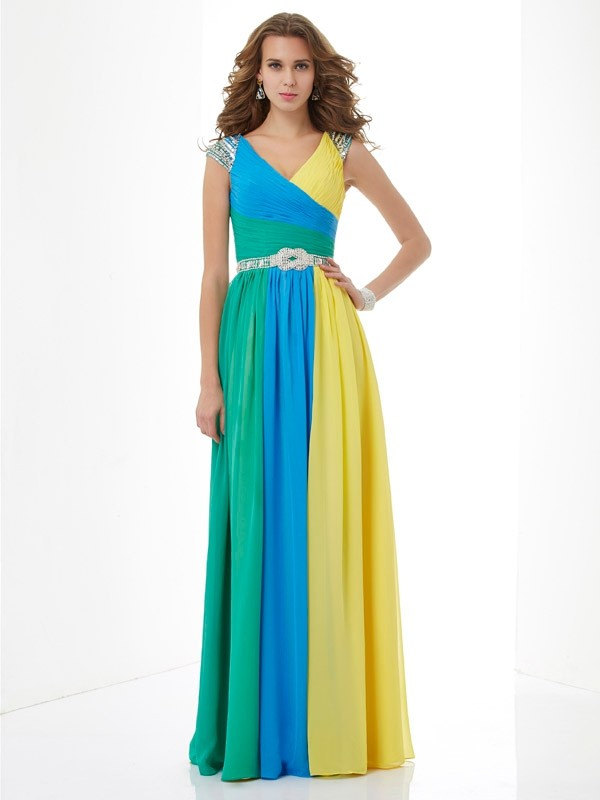 Open to Adoration Princess Style V-neck Beading Long Chiffon Dresses