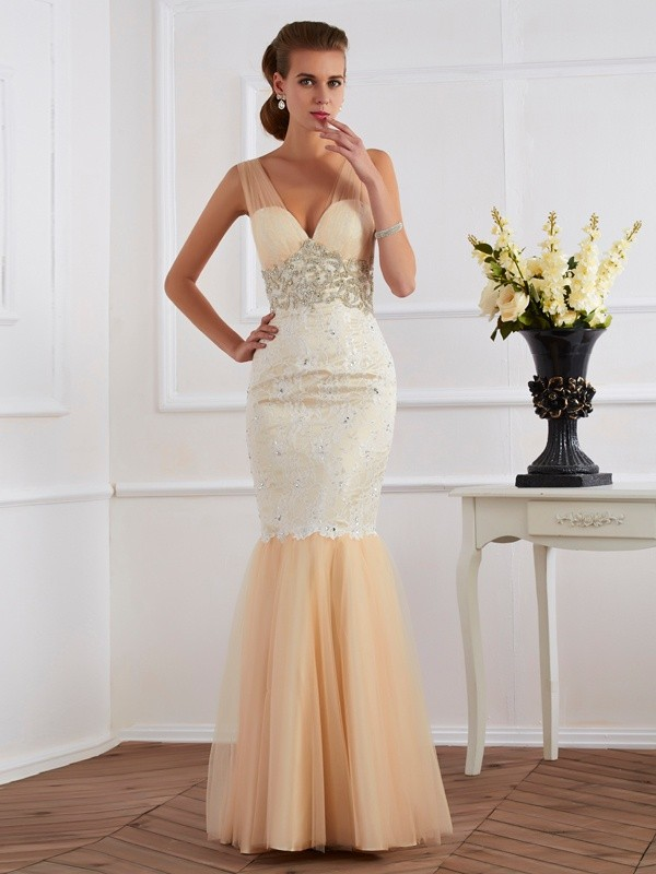 Dancing Queen Mermaid Style Straps Beading Long Net Dresses