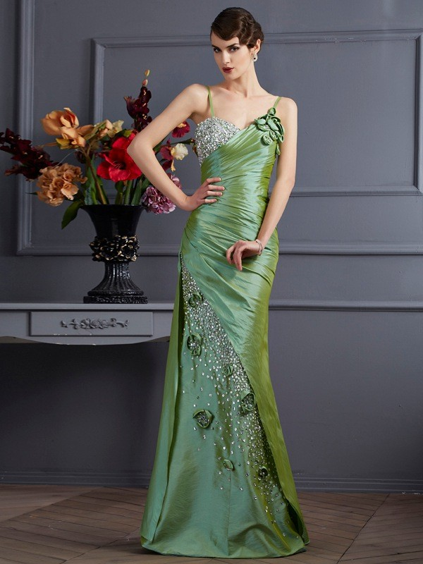 Aesthetic Honesty Mermaid Style Spaghetti Straps Beading Long Taffeta Dresses