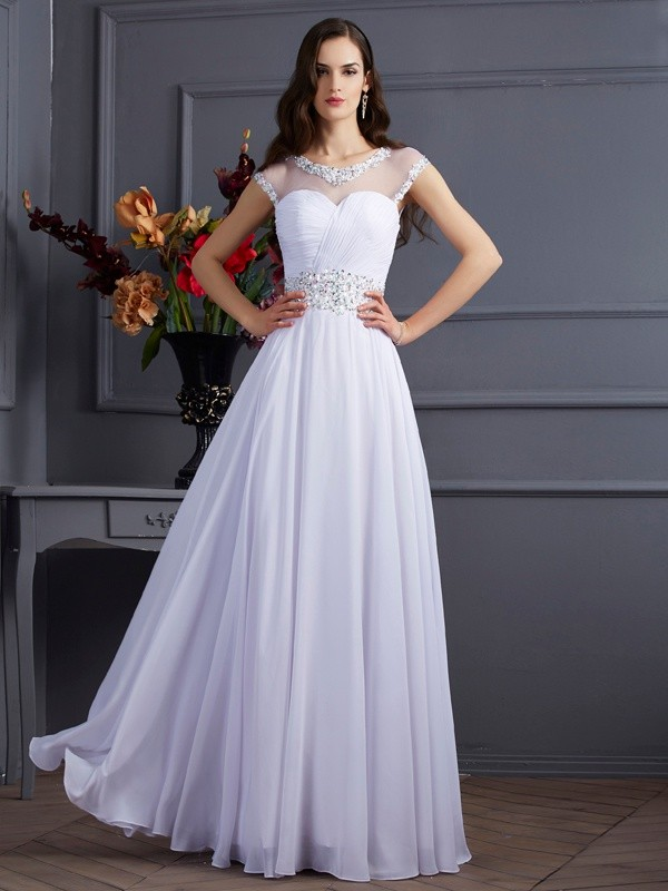 Dancing Queen Princess Style Bateau Beading Long Chiffon Dresses