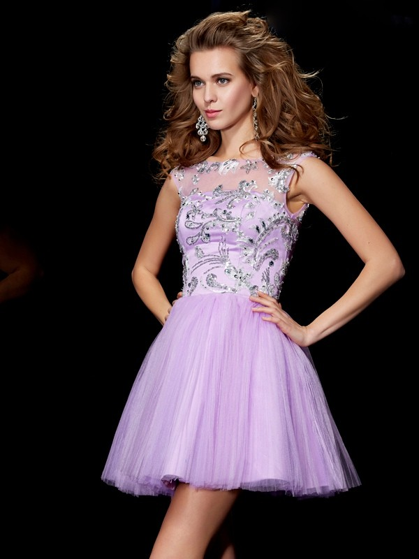 Memorable Magic Princess Style Bateau Beading Short Satin Homecoming Dresses