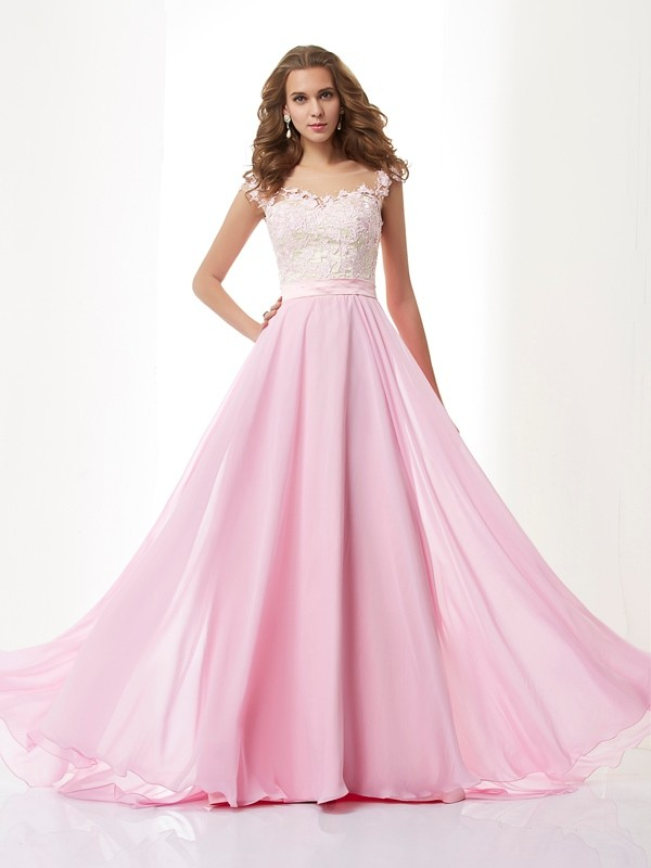 Befits Your Brilliance Princess Style Straps Applique Beading Long Chiffon Dresses