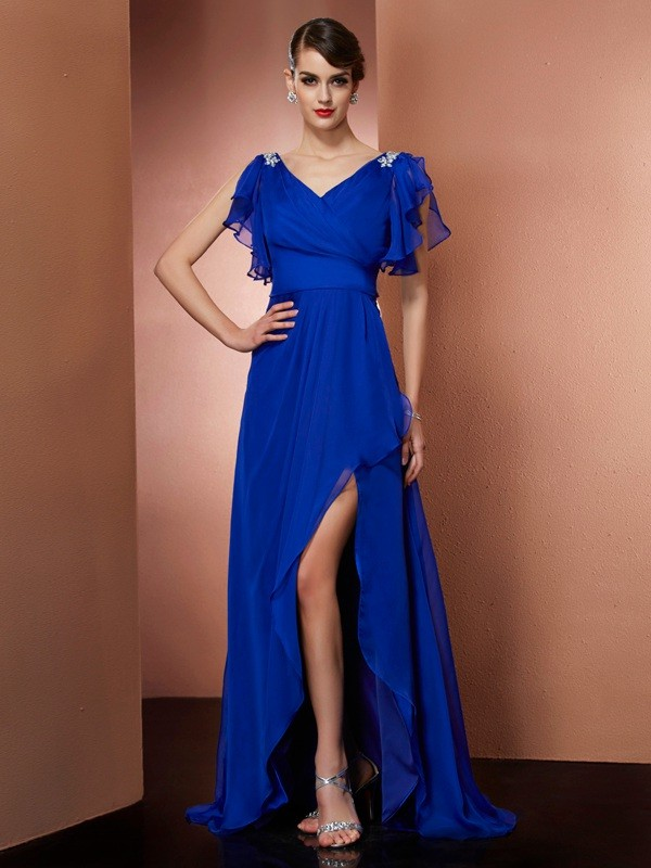 Pleased to be Me Princess Style V-neck Beading High Low Chiffon Dresses