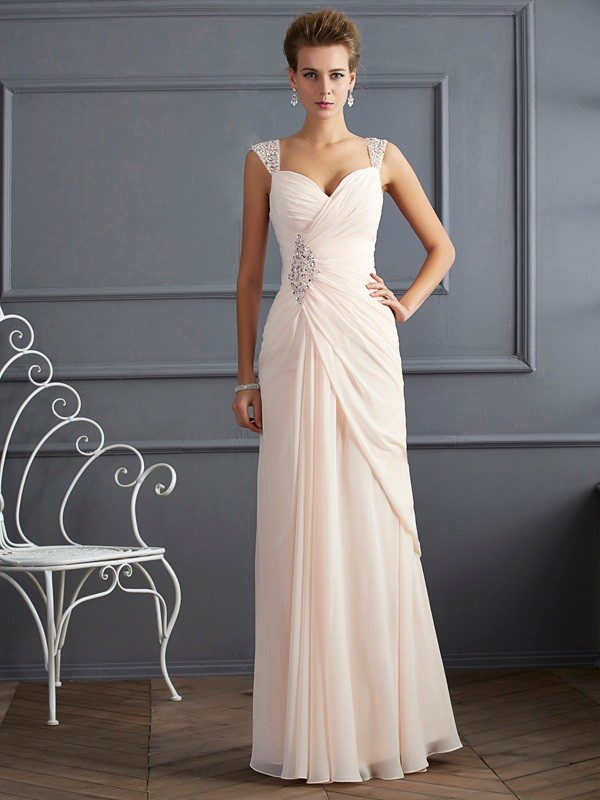 Sweet Sensation Sheath Style Straps Beading Long Chiffon Dresses