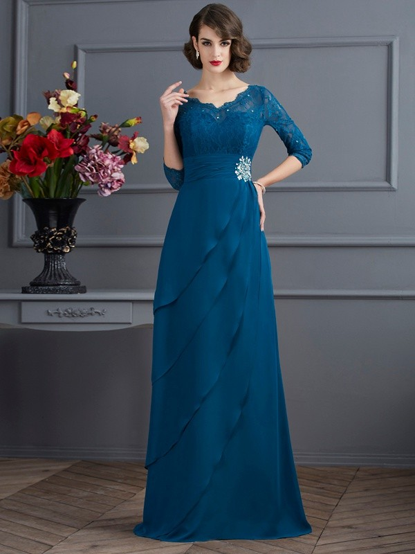 Cordially Delighted Princess Style V-neck Long Chiffon Mother of the Bride Dresses