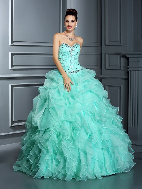 Beautiful You Ball Gown Sweetheart Beading Long Organza Quinceanera Dresses