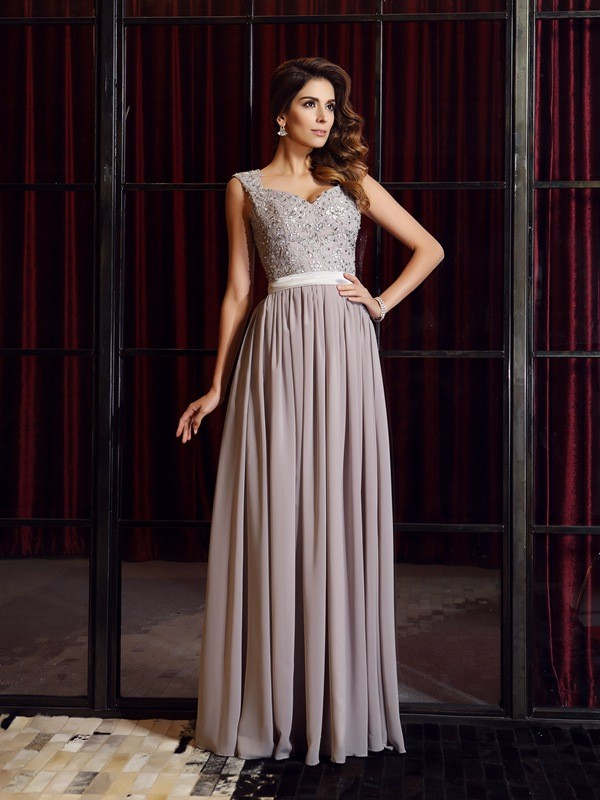 Embracing Grace Princess Style Straps Applique Long Chiffon Dresses
