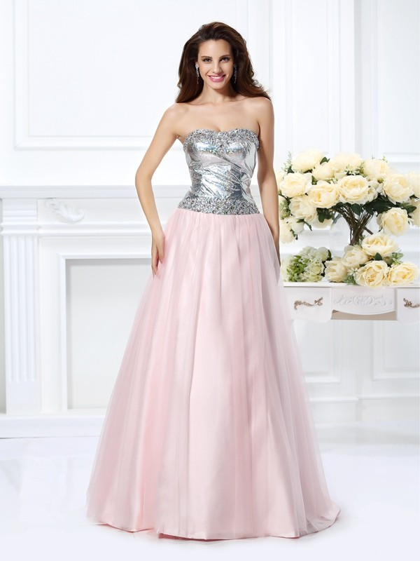 Time to Shine Ball Gown Sweetheart Beading Long Satin Quinceanera Dresses
