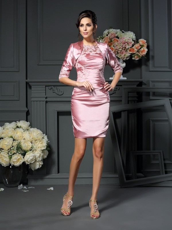 First Impressions Sheath Style Scoop Applique Short Elastic Woven Satin Mother of the Bride Dresses