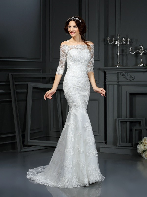 Touch of Texture Sheath Style Off-the-Shoulder Lace Long Lace Wedding Dresses