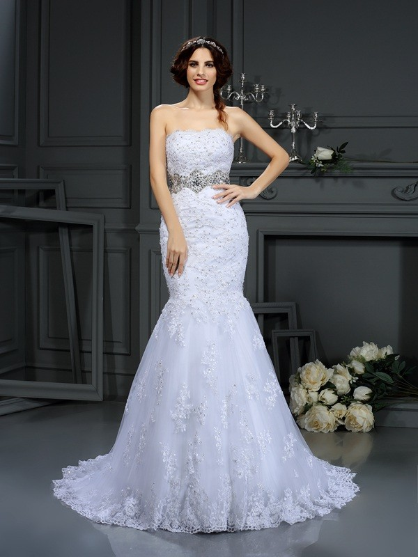 Eye-Catching Charm Mermaid Style Strapless Beading Long Lace Wedding Dresses