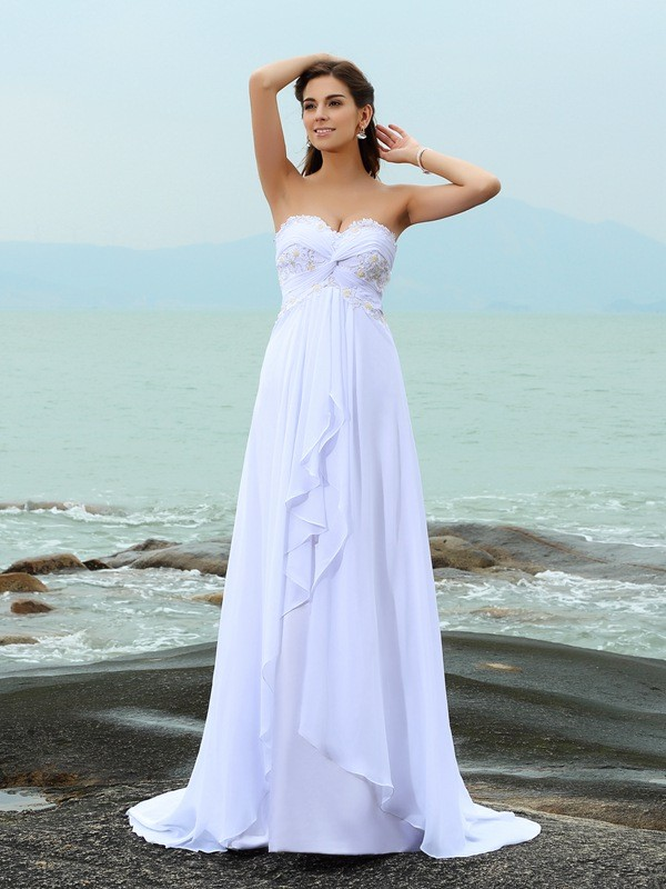 Intuitive Impact Princess Style Sweetheart Beading Long Chiffon Beach Wedding Dresses