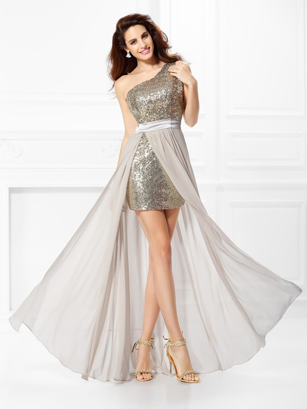 Automatic Classic Princess Style One-Shoulder Sequin Long Chiffon Dresses