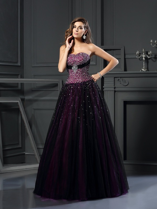 Yours Truly Ball Gown Sweetheart Beading Long Satin Quinceanera Dresses