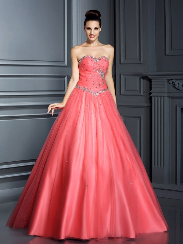 Touch of Texture Ball Gown Sweetheart Beading Long Net Quinceanera Dresses
