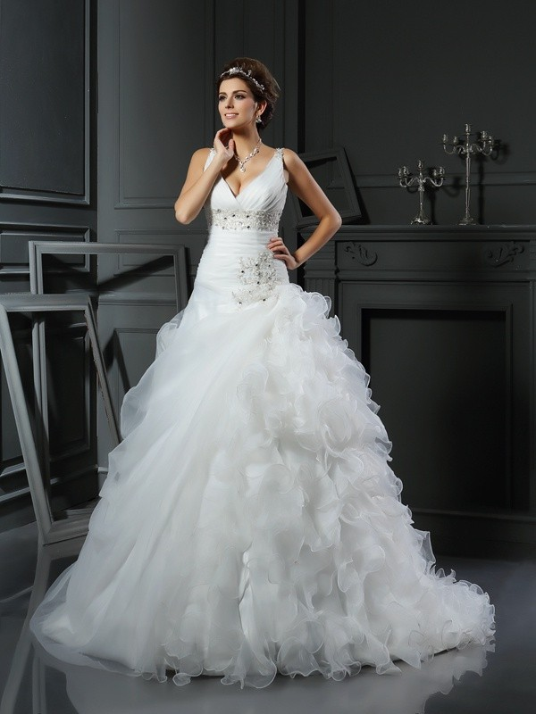 Intuitive Impact Ball Gown V-neck Ruffles Long Organza Wedding Dresses