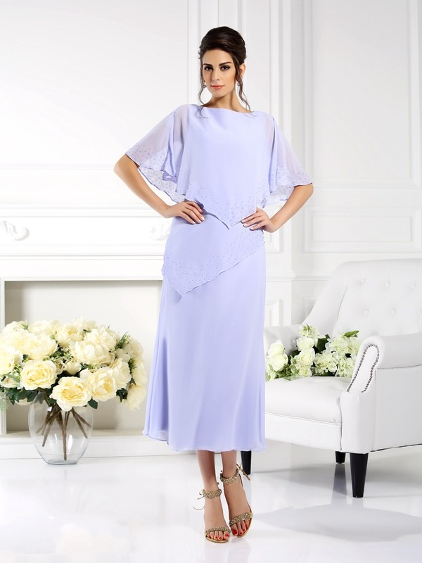 Absolute Lovely Sheath Style Bateau Long Chiffon Mother of the Bride Dresses