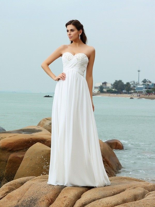 Creative Courage Princess Style Sweetheart Beading Long Chiffon Beach Wedding Dresses